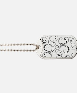 white black floral vintage Dog Tags