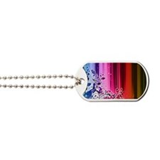 rainbow stripes floral Dog Tags
