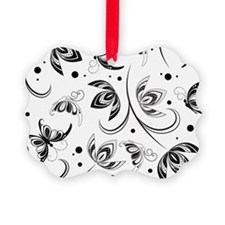 white black paisley Picture Ornament