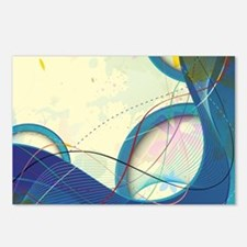 yellow blue abstract wave Postcards (Package of 8)