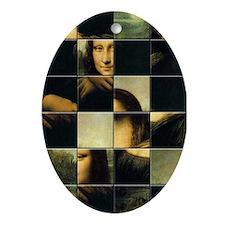 Mona Lisa Puzzle Oval Ornament