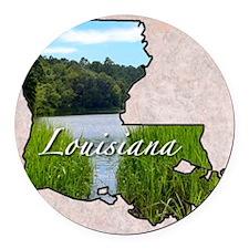 LouisianaMap28 Round Car Magnet