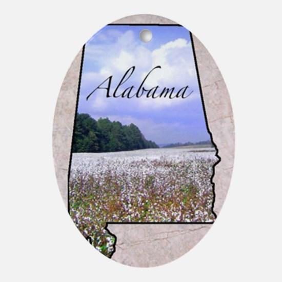 AlabamaMap8 Oval Ornament