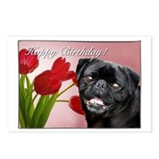 Happy Birthday Pug Dog Postcards (Package Of 8)