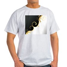 black white gold floral T-Shirt