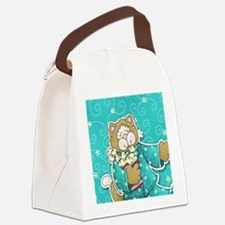 cat_turquoise Canvas Lunch Bag