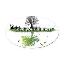 Love your planet Oval Car Magnet