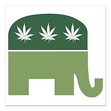 """Green Republican Square Car Magnet 3"""" x 3"""""""