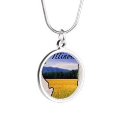 Illinois Silver Round Necklace