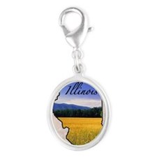 Illinois Silver Oval Charm