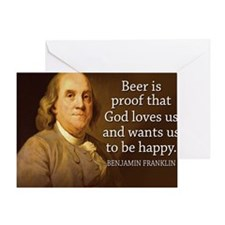 Ben Franklin quote on beer Greeting Card