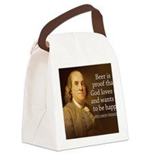 Ben Franklin quote on beer Canvas Lunch Bag