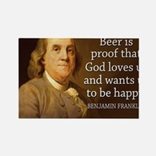 Ben Franklin quote on beer Rectangle Magnet