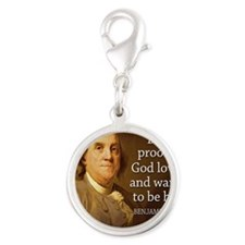 Ben Franklin quote on beer Silver Round Charm