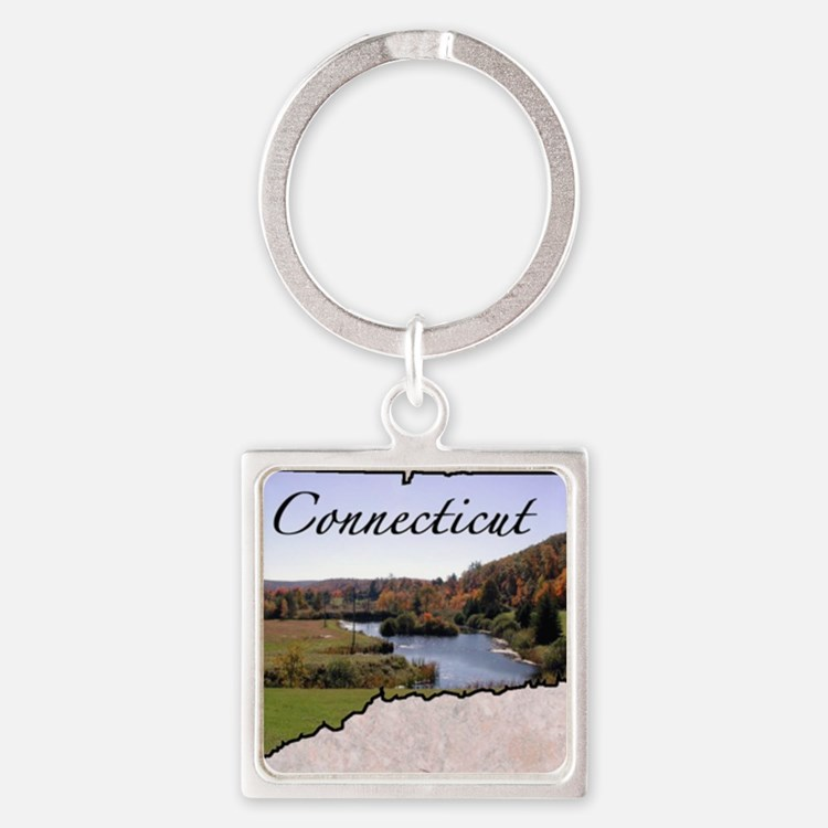 ConnecticutMap28 Square Keychain