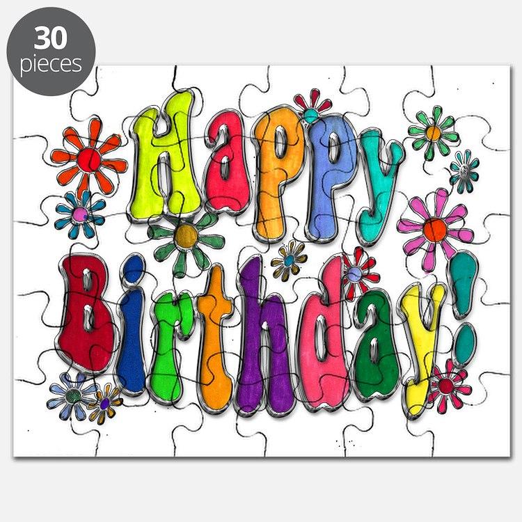 Happy Birthday Word Art Flowers copy Puzzle