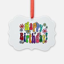 Happy Birthday Word Art Flowers c Ornament