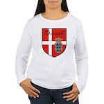 Danish Flag Crest Shield Women's Long Sleeve T-Shi