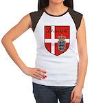 Danish Flag Crest Shield Women's Cap Sleeve T-Shir