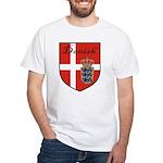 Danish Flag Crest Shield White T-Shirt