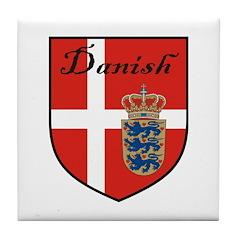 Danish Flag Crest Shield Tile Coaster