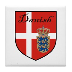 Danish Flag Crest Shield Tile Coaster