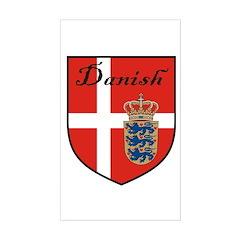 Danish Flag Crest Shield Rectangle Decal