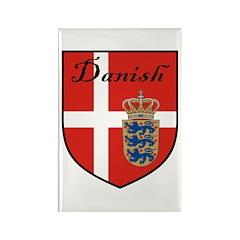 Danish Flag Crest Shield Rectangle Magnet (10 pack