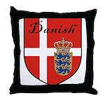 Danish Flag Crest Shield Throw Pillow