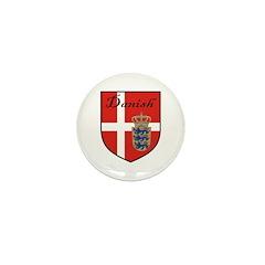 Danish Flag Crest Shield Mini Button (100 pack)