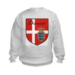 Danish Flag Crest Shield Kids Sweatshirt