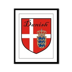 Danish Flag Crest Shield Framed Panel Print