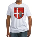 Danish Flag Crest Shield Fitted T-Shirt