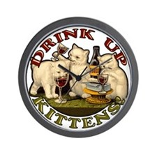 drink-up-kittens Wall Clock