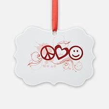 Peace Love Happy Face Splat Ornament