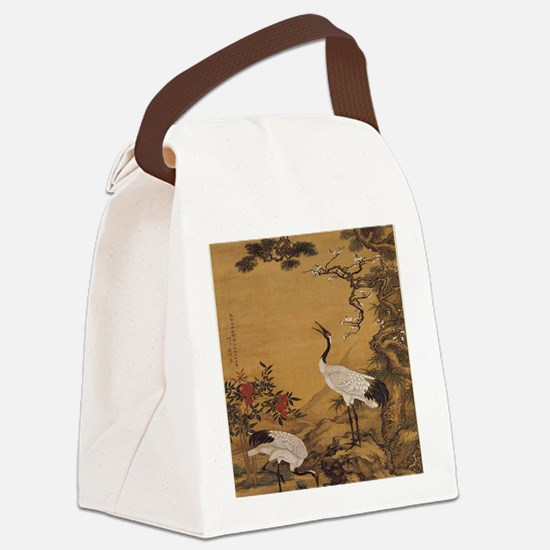 cranes-woodblock-print-iPad-case Canvas Lunch Bag