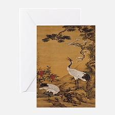 cranes-woodblock-print-iPad-case Greeting Card