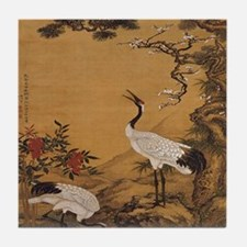 cranes-woodblock-print-iPad-case Tile Coaster