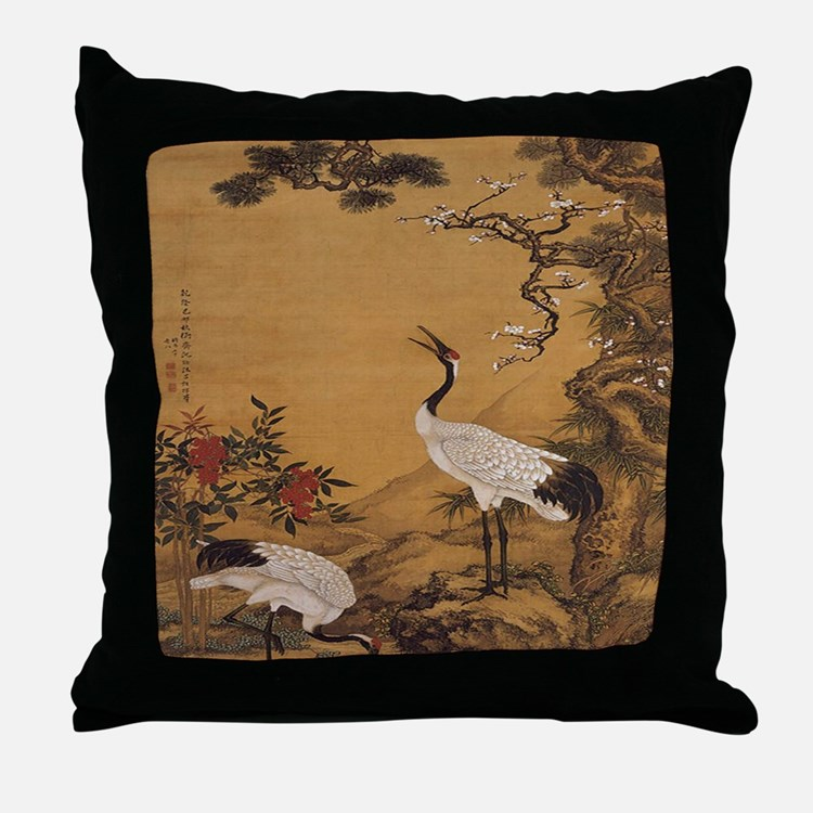 cranes-woodblock-print-iPad-case Throw Pillow