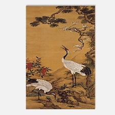 cranes-woodblock-print-iP Postcards (Package of 8)
