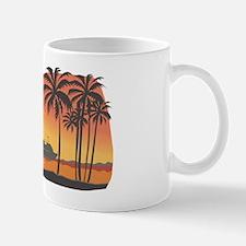 boats palm trees sunset Mug