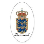 Denmark Coat of Arms Crest Oval Sticker