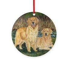 golden marsh pair Round Ornament