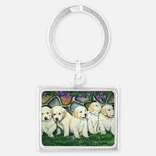 golden puppies Landscape Keychain