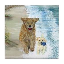 Golden Surf runners Tile Coaster