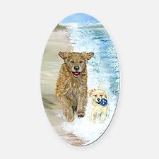 Golden Surf runners Oval Car Magnet