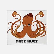 Free Hugs Giant Squid Throw Blanket