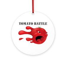 tomato battle txt clear Round Ornament