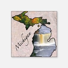 "Michigan Square Sticker 3"" x 3"""