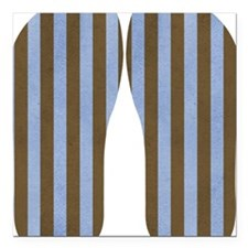 """Blue And Brown Stripe Square Car Magnet 3"""" x 3"""""""